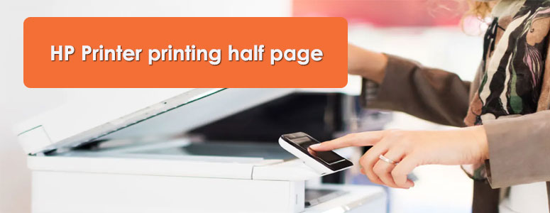 HP printer printing half page